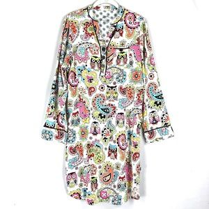 Nick Nora Sleepwear Sleep Shirt Owl Paisley